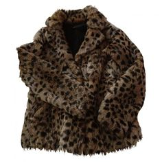 Leopard print Fur Jacket MAJE (17.835 RUB) ❤ liked on Polyvore featuring outerwear, jackets, coats, coats & jackets, maje jacket, leopard jacket, maje, brown jacket and brown fur jacket