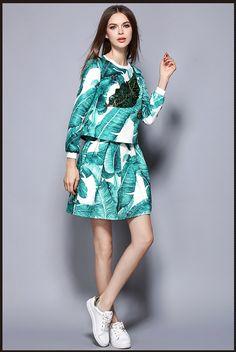 欧美2016秋装女装亮片树叶印花长袖T恤上衣A字半身裙两件套套装裙-淘宝网全球站