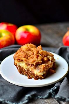 A moist apple coffee cake layered with luscious cream cheese and a crumbly streusel megan- replaced gk yog for oil and made the topping, barely fit into added oats to topping Apple Recipes, Sweet Recipes, Baking Recipes, Apple Desserts, Delicious Desserts, Yummy Food, Yummy Eats, Cream Cheese Coffee Cake, Breakfast Recipes