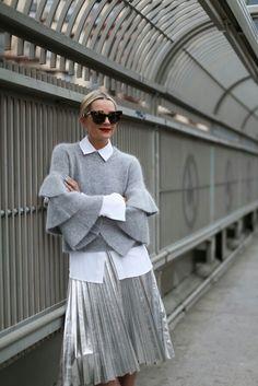 Sweater (under $100). Top:Michael Kors(last seen hereandhere with the bow). Shoes:No. 21. Skirt: Zara (shorter version here). Sunglasses: Karen Walker
