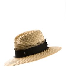 Maison Michel Natural Woven Straw Virginie Hat (3,045 CNY) ❤ liked on Polyvore featuring accessories, hats, ribbon hat, woven hat, maison michel, woven straw hat and maison michel hats