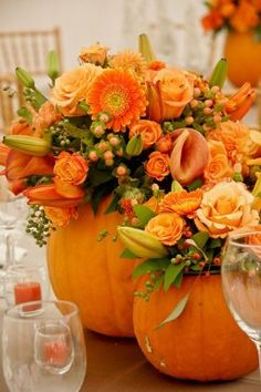 Fall Pumpkin Floral Arrangement - but I think I would pick different flowers.