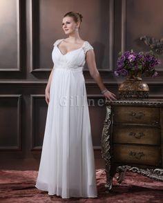 Porträt Übergröße Perlen Plissiertes Bodenlanges Brautkleid