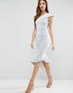 ASOS – Neopren-Kleid mit One-Shoulder-Träger und Schößchen in mittlerer Länge
