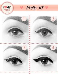 Easy way to apply winged eyeliner. Applying winged eyeliner has always been a task for me. Then i started using this technique, it really wo. hacks for teens girl should know acne eyeliner for hair makeup skincare 1950 Makeup, Vintage Makeup, 1950s Hair And Makeup, Retro Makeup, Vintage Cat, Perfect Winged Eyeliner, Winged Liner, Eye Liner, Makeup Tips