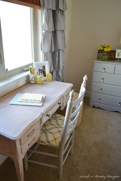 sarah m. dorsey designs: Writing Desk and Chair Complete!  really liking grey and yellow right now