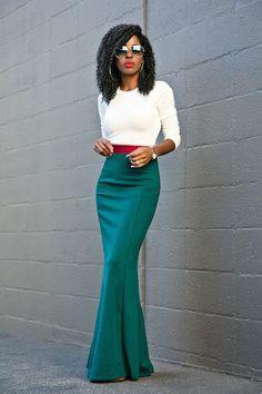 Long Sleeve Tee + Contrast Waist Maxi Skirt Style Pantry waysify