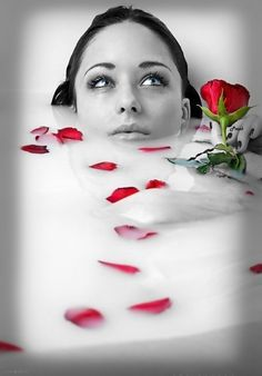 Roses are red, violets are blue...a bath full of rose pentals, because I'm in love with you...xxx