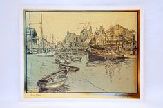 San Pedro   Gold Lithograph Etching by Lionel by ogdenlane on Etsy, $24.95
