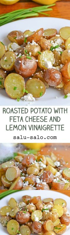 Roasted Potato with Feta Cheese and Lemon Vinaigrette