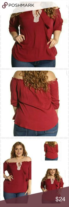 Burgundy Tunic (1X, 2X, 3X) Burgundy Lace up Tunic. Features lace up, tassel, and elastic bust.  Pair with jeans or slacks. Attached spaghetti straps or off the shoulder look. Thank you and Happy Poshing!!!! Tops Tunics