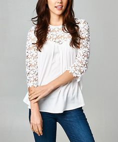 Look what I found on #zulily! White Floral Lace Three-Quarter Sleeve Top by Esley Collection #zulilyfinds