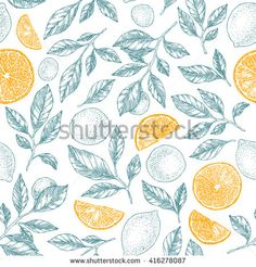 Lemons background. Linear graphic. Engraved citrus seamless pattern. Vector illustration