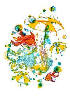 Rain Drop Raining Girl Goldfishes Umbrella by yeohghstudio on Etsy, $30.00