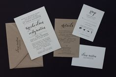 Invitations and RSVP printed on natural colored feltweave paper accompanied by kraft paper details card and envelope _ A to Z Paperie