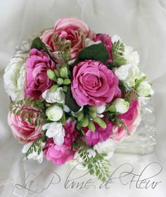 Maya- Wedding bouquet - white and dark, hot pink flowers. Roses, rannunculas, lissianthus, tubberrose and maiden hair fern.