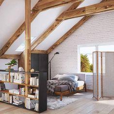 Stehregal als Raumteiler im Dachboden