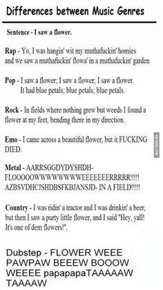 Differences between music genres XD