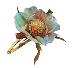 Michal Negrin Sparkling Hair Clip Decorated with Fabric Flower, Green and Blue Swarovski Crystals; Vintage Inspired Michal Negrin. $97.00. Flower shaped element. Unique and feminine, perfect to wear for special occasions and evenings - a must have piece. Adorned with blue, green Swarovski crystals. Michal Negrin beautiful hair barrette. Produced delicately by hand, made in Israel