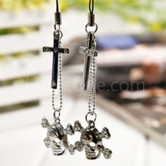 cross skull couple phone pendant