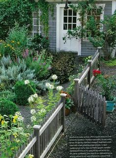 Cottage Style:  Include picket fence, trellis with climber, wood siding, etc.