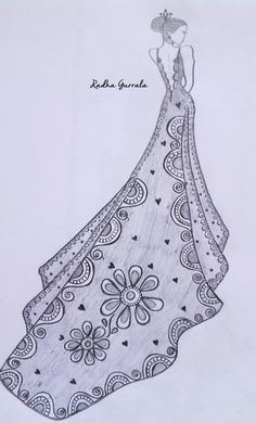 Discover thousands of images about Pencil Sketch by Radha Gurrala (G G B) Dress Design Drawing, Dress Design Sketches, Fashion Design Sketchbook, Fashion Design Drawings, Fashion Sketches, Fashion Drawing Dresses, Fashion Illustration Dresses, Art Drawings For Kids, Fashion Figures