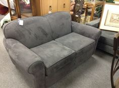 Grey Micro fibre Love seat - Like new.  Extremely practical fabric.  We have two of them.  Item. 508-9. Price.  $306.00   - http://takeitorleaveit.co/2014/07/19/grey-micro-fibre-love-seat/