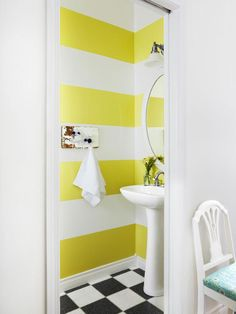 Graphic Wall in A Farmhouse Filled With Unique Projects from HGTV Bathroom Vanity Storage, Bathroom Pictures, Bathroom Ideas, Bathroom Inspo, Bath Ideas, Striped Walls, Farmhouse Style Decorating, Farmhouse Chic, Downstairs Bathroom
