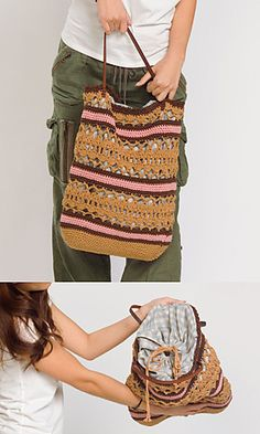 Asian Style Bag. Both English and Japanese versions are fully charted using standard knitting and/or crochet symbols.