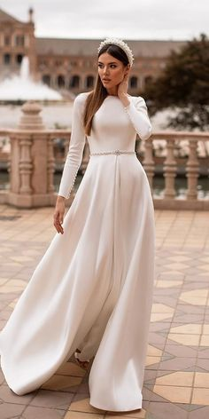 18 Of The Most Graceful Simple Wedding Dresses With Sleeves ❤ simple wedding dresses with sleeves a line modest noranaviano sposa ❤ Simple Wedding Dress With Sleeves, Plain Wedding Dress, Modest Wedding Gowns, Wedding Dress Organza, Wedding Dress Sleeves, Bridal Dresses, Dresses With Sleeves, Off White Wedding Dresses, Stunning Wedding Dresses