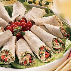 East meets West in these innovative tortilla wraps with a flavorful filling of tuna, crisp vegetables and Thai dressing.