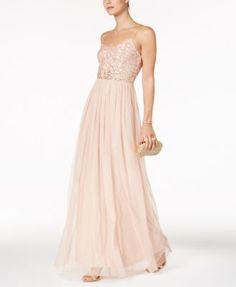 Adrianna Papell Sequined Tulle Gown - such a beautiful gown for an evening out or an elegant wedding. Tulle Gown, Beaded Gown, Stunning Dresses, Beautiful Gowns, Pretty Dresses, Formal Dresses For Women, Long Dresses, Gowns Online, Review Dresses