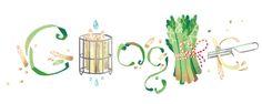 Spargelsaison (asparagus season). April 15, 2015 at Google in Germany.   ► http://doodlefinder.de/spargelsaison ◄   Er wächst, schmeckt und wird etwas teurer als im vergangenen Jahr: der Spargel. Im Großhandel kostet das Kilo weißer Spargel (16 bis 22 Millimeter dick) aktuell 13,27 Euro. Das ist doppelt so viel wie Anfang April 2014.   #Spargelsaison #Spargel #Gemüse #Deutschland #Germany #GoogleDoodle