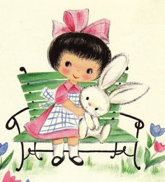 Vintage Thinkin Of You At Easter Greetings Card bunny and girl Easter Greeting Cards, Vintage Greeting Cards, Vintage Postcards, Vintage Images, Easter Vintage, Vintage Holiday, Easter Art, Easter Crafts, Easter Bunny