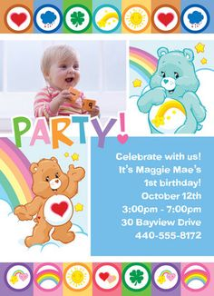 Personalized Care Bears Rainbow Party Invites from #cardstore