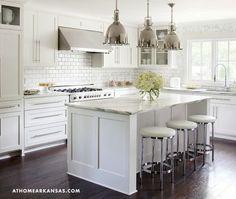 White Kitchen Classic White Kitchen White Kitchen Kitchen Features Three Restoration Hardware Harmon Pendants Illuminating A White Center Island
