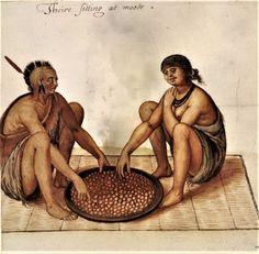 John White (English artist, c 1540-1593) Man and Woman Eating
