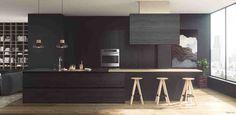 Потрясающие темные кухни
