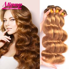 Honey Blonde Brazilian Hair Weave Color 27# Brazilian Body Wave 100% Human Hair Weave Bundles 7A Brazilian Virgin Hair Extension //Price: $103.22 & FREE Shipping //     #hairextension #style #beauty #woman #love