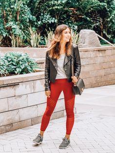 ba270a32baaf0 RBX red leggings, Veda black leather jacket, Chanel black boy bag with gold  hardware
