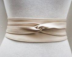 Ankara impression ceinture Obi en cuir Tan Ceinture par LoveYaaYaa
