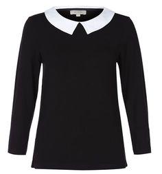 Georgina T Shirt - Hobbs. Black top, white collar.