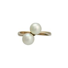 Vintage 14K Gold Large Cultured Pearl Ring, c. 1960s. $350