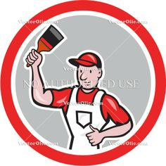 artwork, brush, cartoon, circle, holding, house painter, illustration, male, man, paintbrush, painter, tradesman, worker