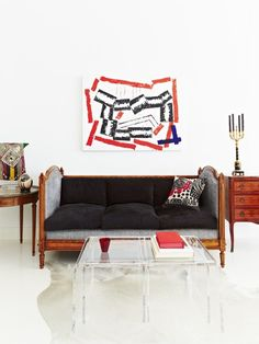 An abstract painting picks up on red accents in this living room | Photo Gallery: Artful Homes | House & Home | photo Angus Fergusson