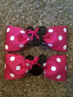 Minnie Mouse Hair Clips  Pink by BowtiquebyMelissa on Etsy, $6.99