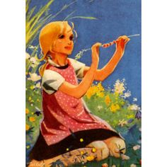 A young girl enjoys the warm sunshine of a summer's day during her school vacation Graphic Design Illustration, Illustration Art, Vintage Children's Books, Vintage Pictures, Christmas Art, Illustrations Posters, Vintage Illustrations, Martini, Scandinavian