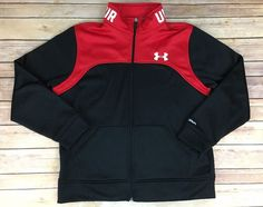 Under Armour Storm Loose Insulated Black Red Logo Zip Front Jacket Boys YLG  #UnderArmour #ZipFrontJacket
