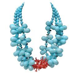 Helga Wagner Aqua and Coral Necklace thumbnail 1