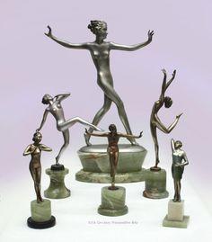 Art Deco bronze sculptures by Josef Lorenzl, Austria circa 1930s.